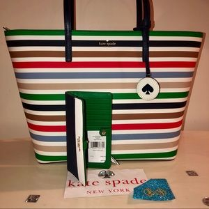 Kate♠️Spade TANYA STRIPED TOTE + BIFOLD WALLET SET